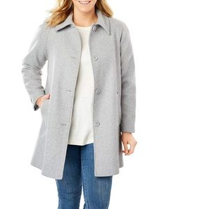 Woman Within wool blend A-line gray pea coat🖋